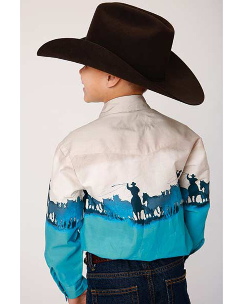 Roper Boys' Blue Roping Border Print Long Sleeve Western Shirt , Turquoise, hi-res