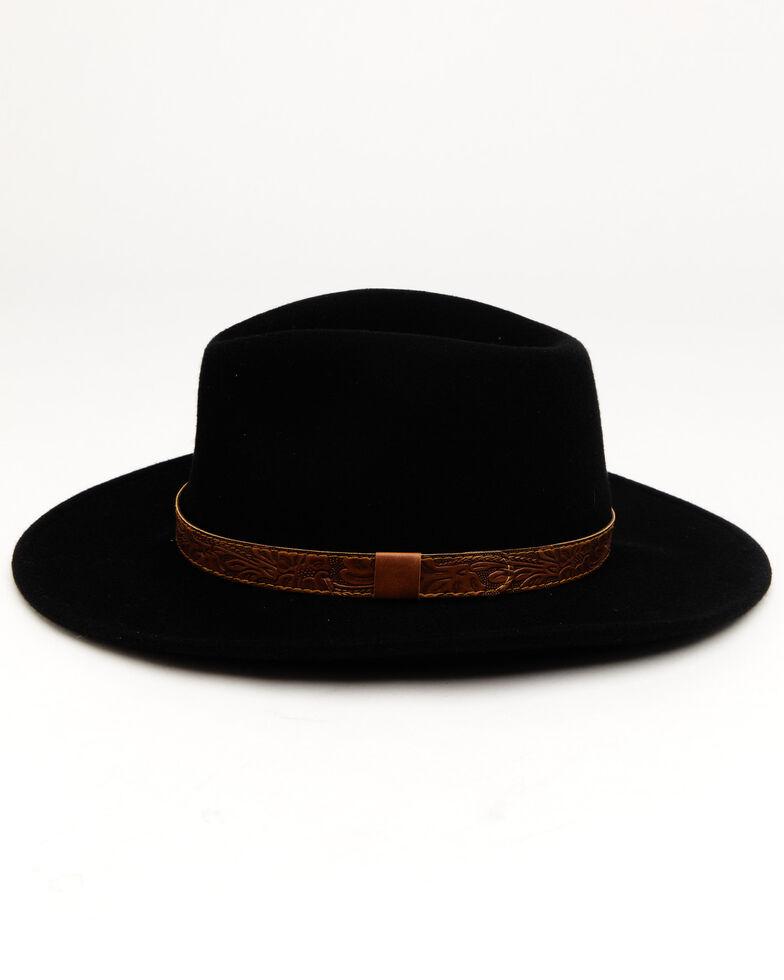 Cody James Men's Brown Leather Embossed Band Western Felt Hat, Black, hi-res