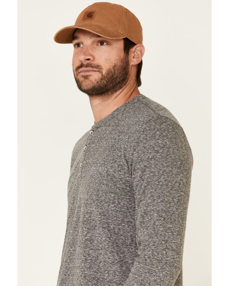 Flag & Anthem Men's Charcoal Hollis Striped Henley Long Sleeve Shirt , Charcoal, hi-res