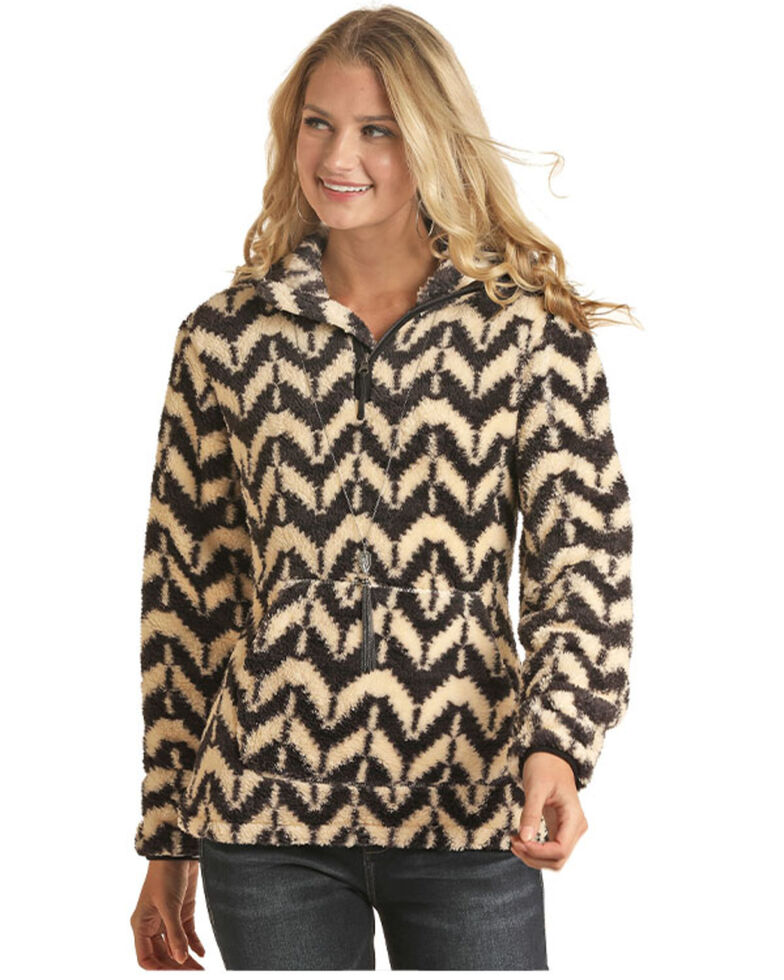 Powder River Outfitters Women's Aztec Berber Print 1/2 Zip Hooded Pullover, Multi, hi-res