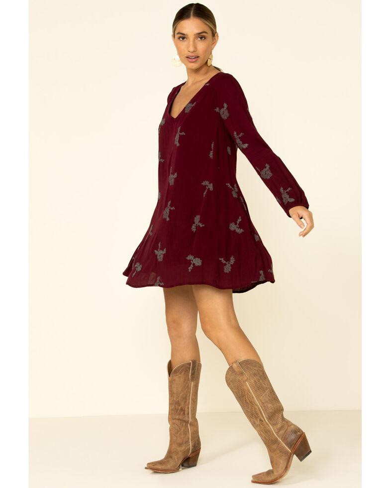 Wishlist Women's Floral Keyhole Dress, Burgundy, hi-res
