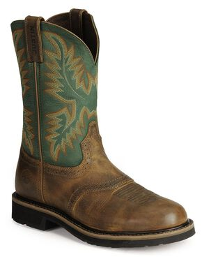 Justin Men's Stampede Superintendent Green Work Boots - Soft Toe, Tan Tail, hi-res