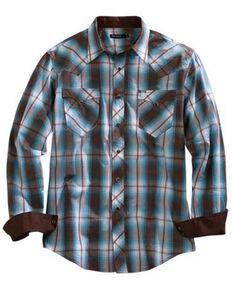 Tin Haul Men's Turquoise Plaid Short Sleeve Western Shirt , Brown, hi-res