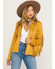 Fornia Women's Mustard Faux Suede Fringe Zip Jacket, Mustard, hi-res