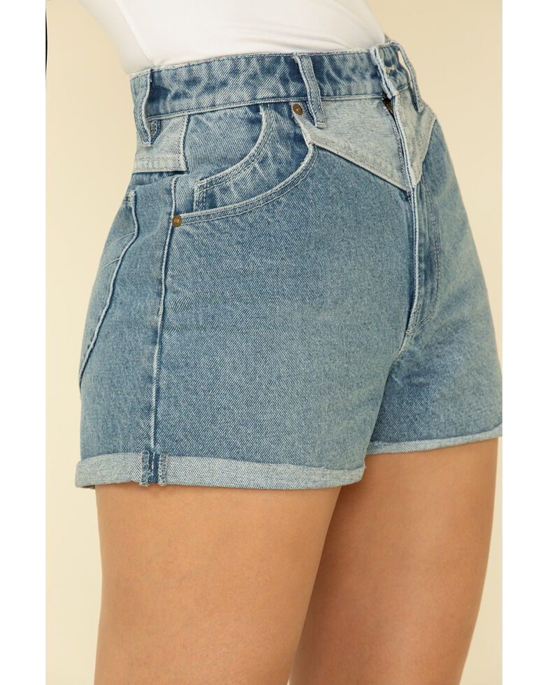 Rolla's Women's Medium Wash Yoke Front Duster Shorts, Blue, hi-res