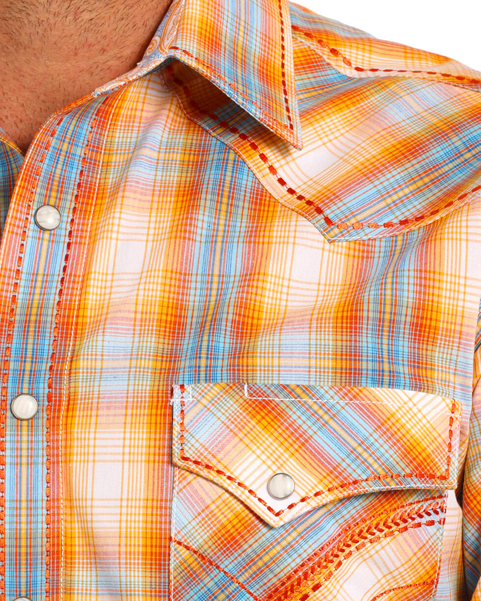 Rough Stock by Panhandle Men's Orange and Blue Plaid Long Sleeve Shirt, Orange, hi-res