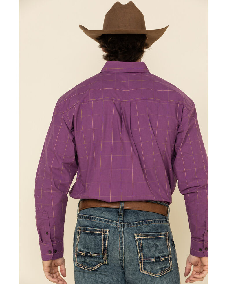 George Strait By Wrangler Men's Plum Micro Check Plaid Long Sleeve Western Shirt , Purple, hi-res