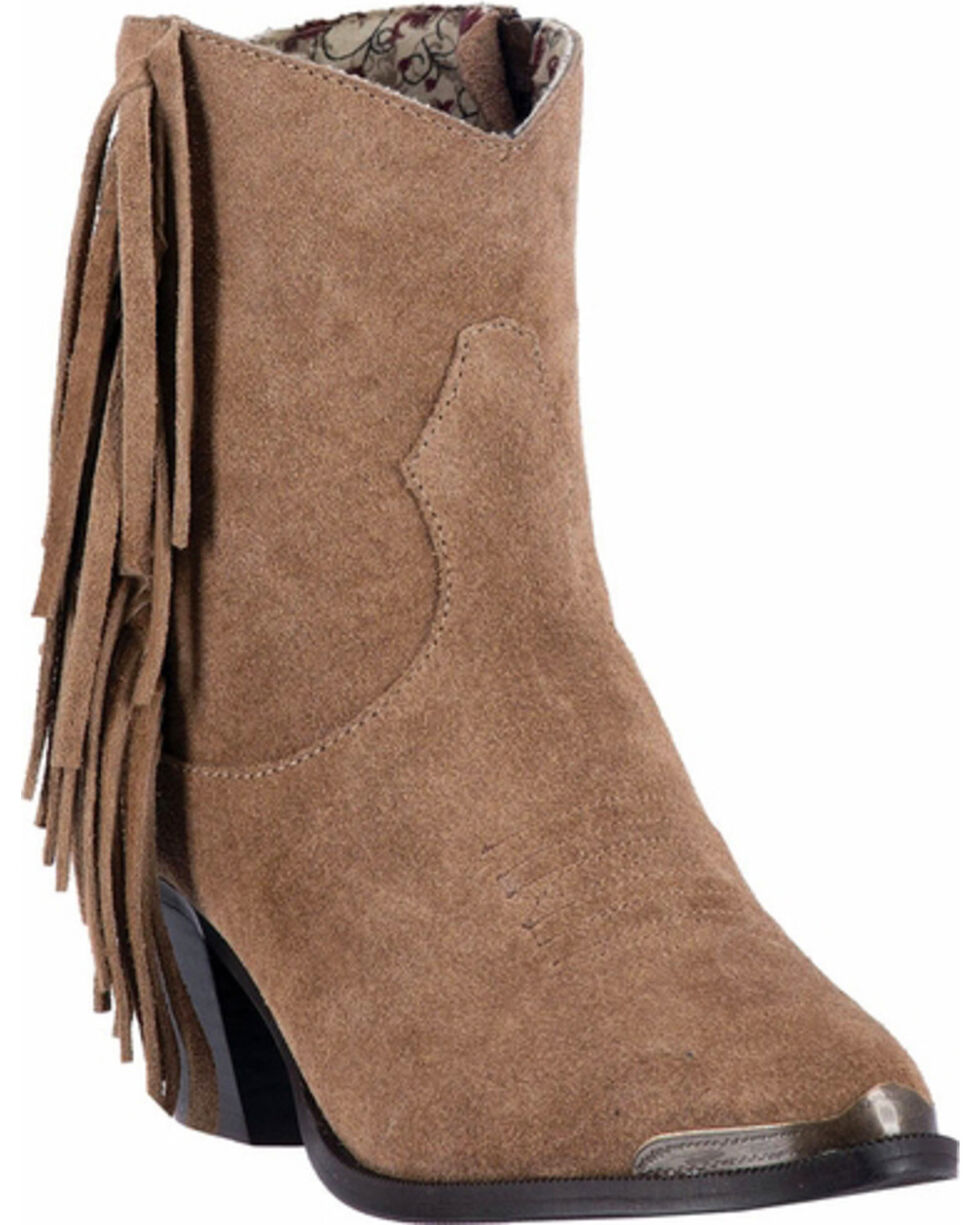 Dingo Women's Gigi Fringe Side Zip Booties - Medium Toe , Tan, hi-res