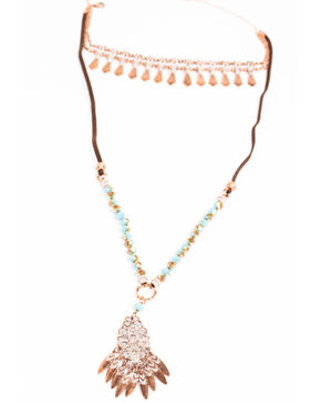 Shyanne Women's Wanderlust Edged Choker Filigree Layered Necklace, Tan/copper, hi-res