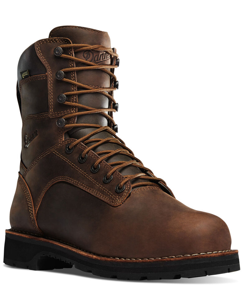 """Danner Men's 8"""" Workman Alloy Toe Work Boots, Brown, hi-res"""
