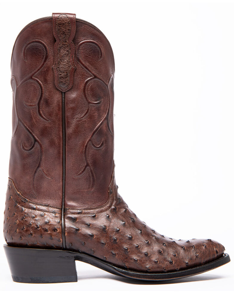 Cody James Men's Sienna Full Quill Ostrich Western Boots - Round Toe, Brown, hi-res