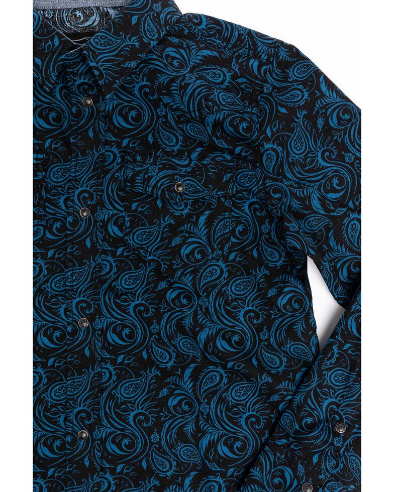 Cody James Boys' Dandelion Paisley Print Long Sleeve Western Shirt , Royal Blue, hi-res