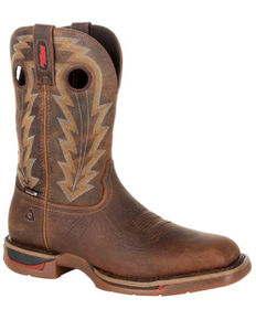 Rocky Men's Long Range Waterproof Western Boots - Square Toe, Distressed Brown, hi-res