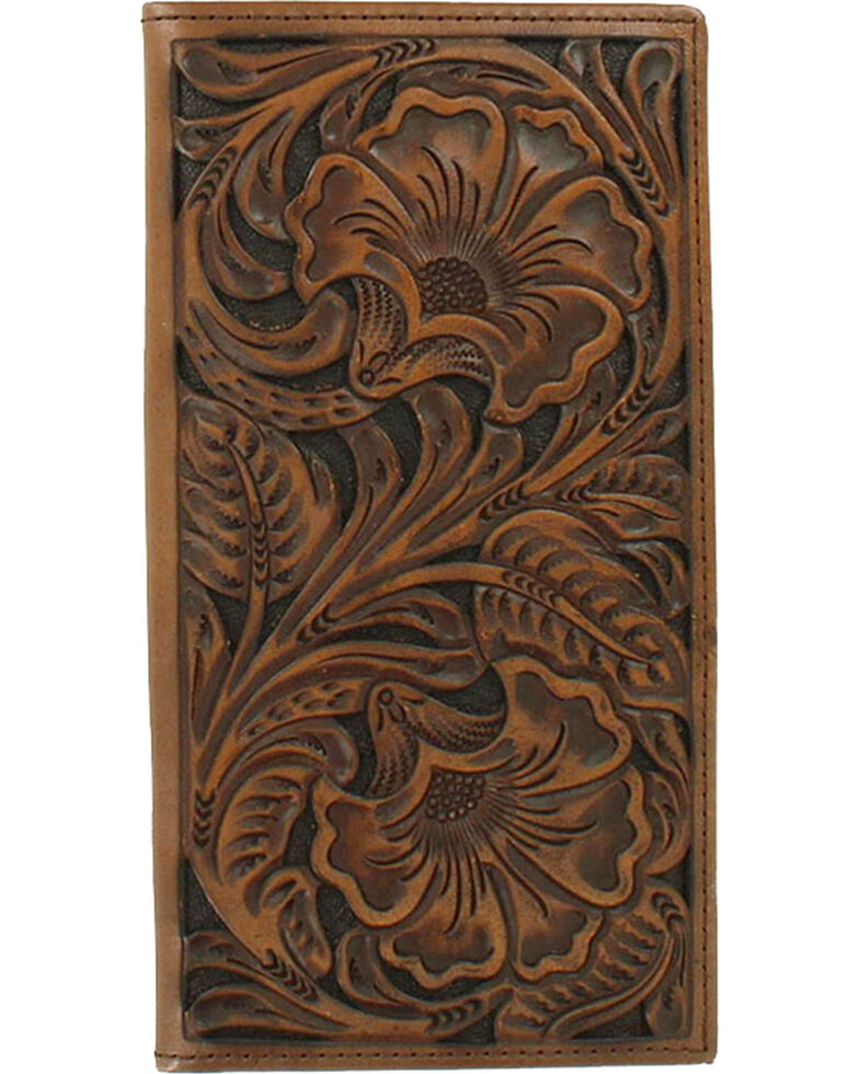 Ariat Men's Rodeo Embossed Border Wallet, Brown, hi-res
