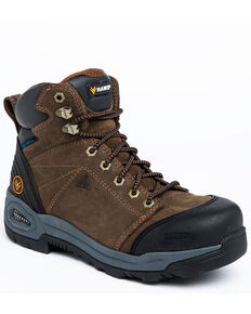 Hawx Men's Crew Chief Waterproof Work Boots - Composite Toe, Dark Brown, hi-res