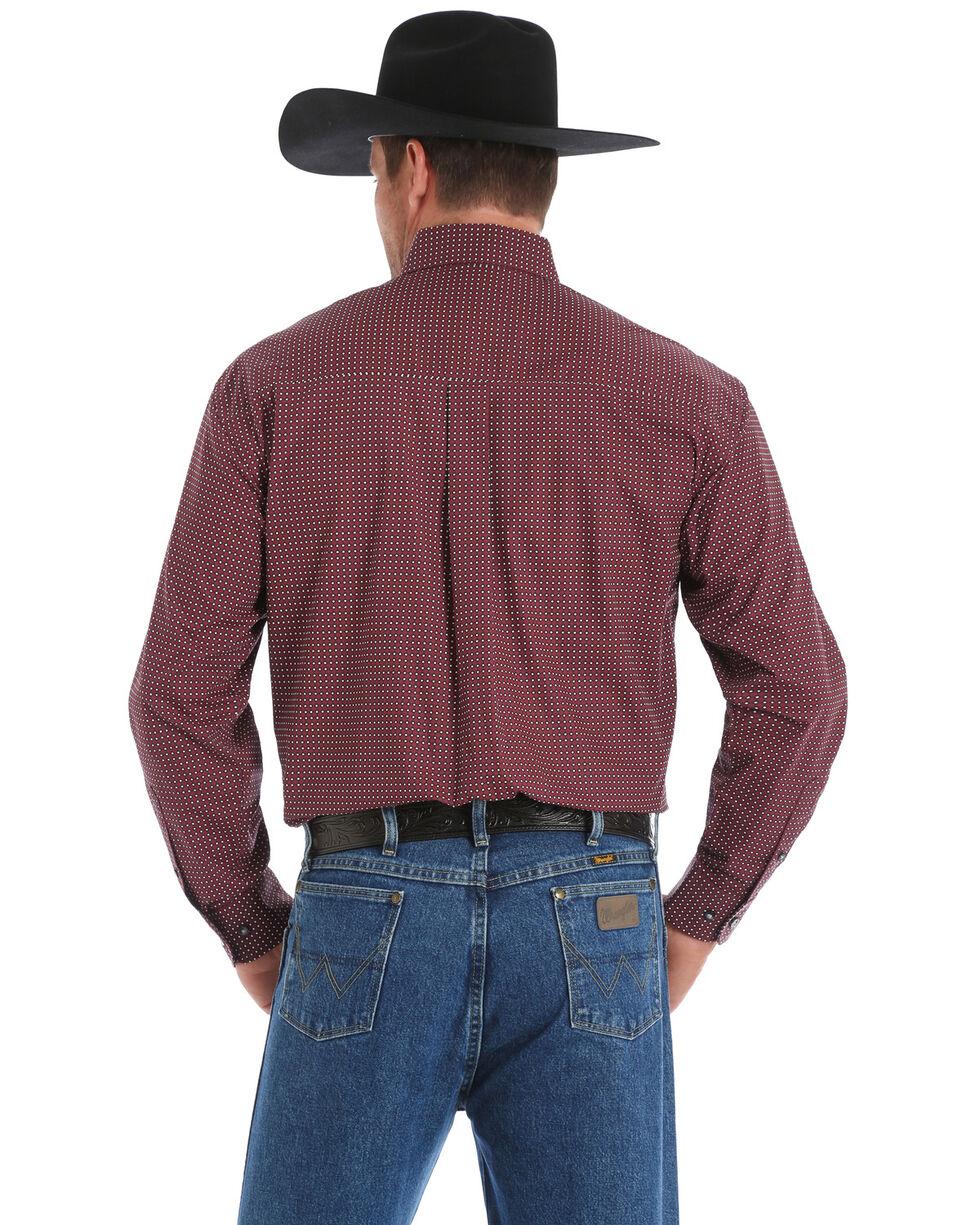 George Strait by Wrangler Men's Wine Geo Print Long Sleeve Western Shirt , Wine, hi-res