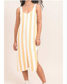 Others Follow Women's Mustard Stripe Button Foxtrot Dress, Dark Yellow, hi-res