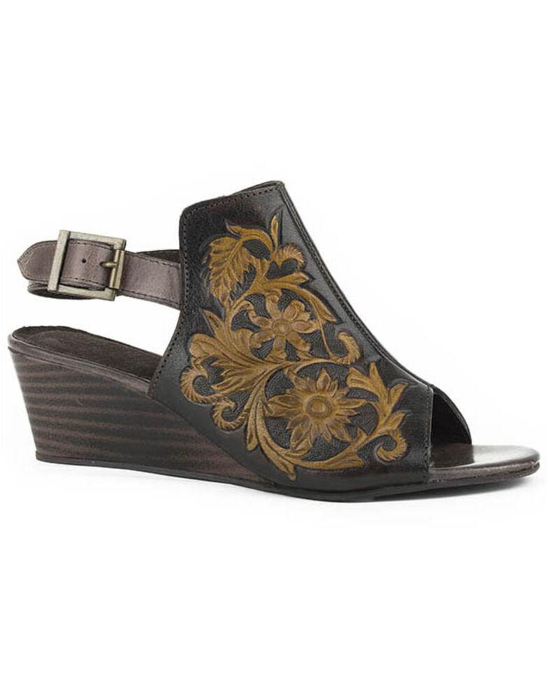 Roper Women's Tan Floral Tooled Sandals - Round Toe, Brown, hi-res