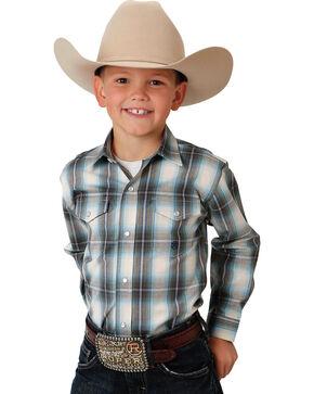 Roper Boy's Green Snap-Down Plaid Shirt , Green, hi-res