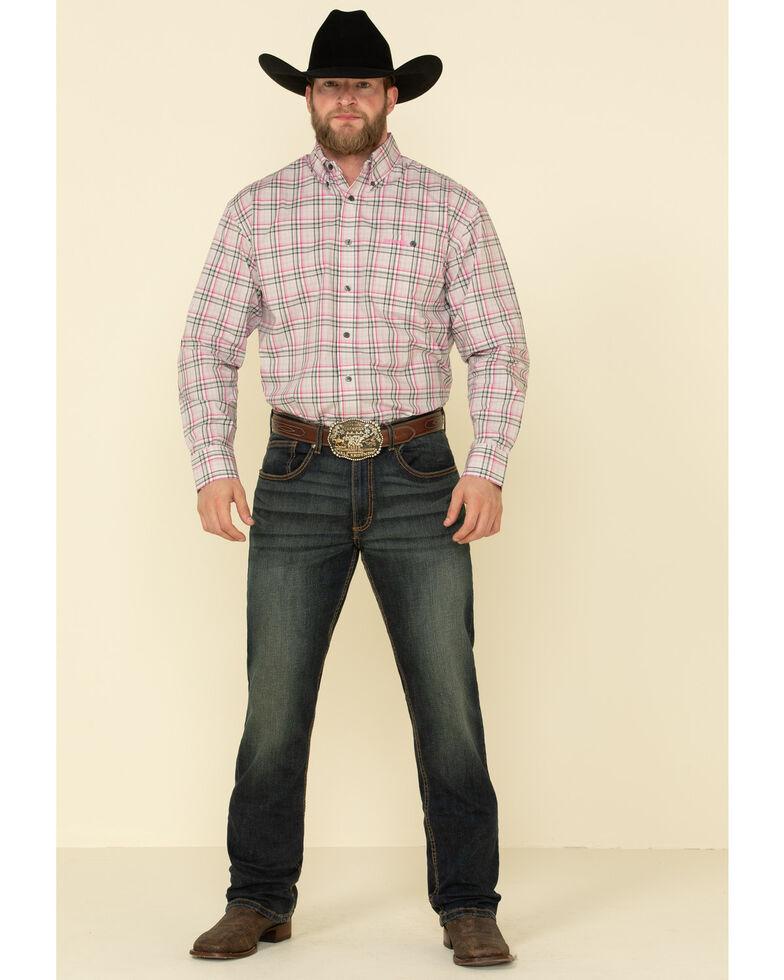 Wrangler Men's Tough Enough To Wear Pink Large Plaid Snap Long Sleeve Western Shirt , Pink, hi-res
