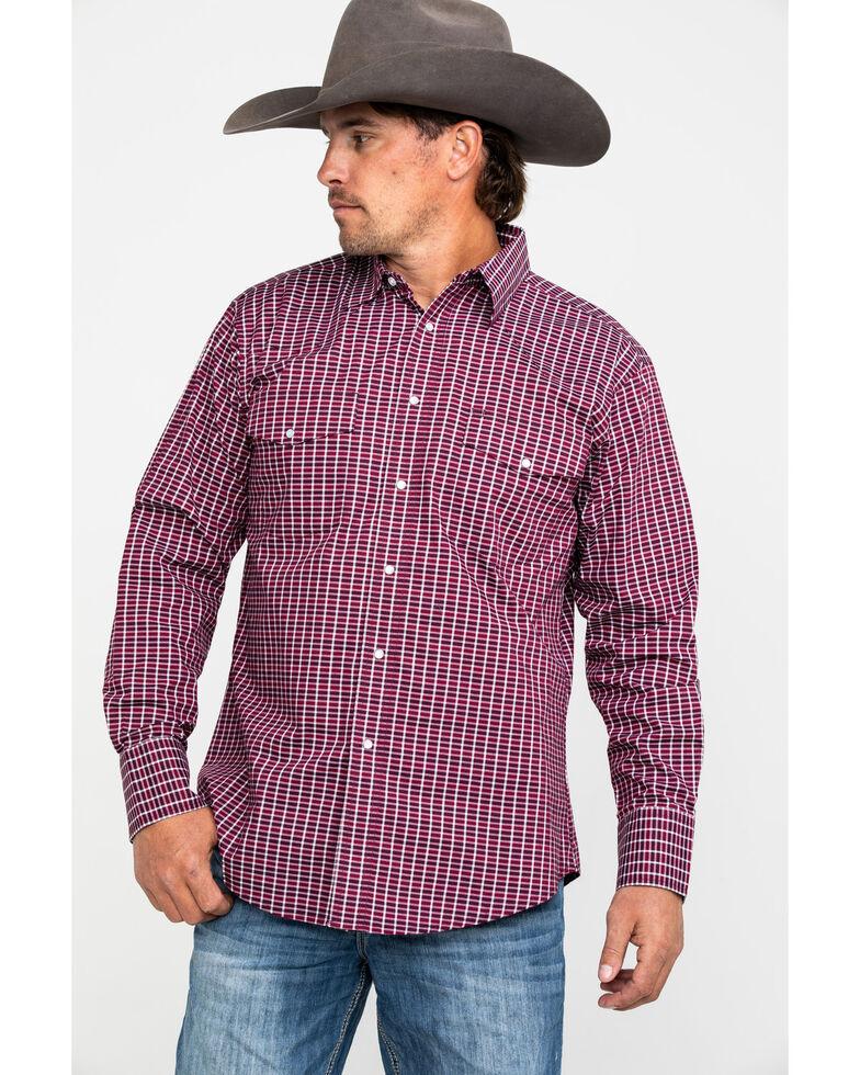 Wrangler Men's Wrinkle Resist Small Plaid Long Sleeve Western Shirt , Red, hi-res