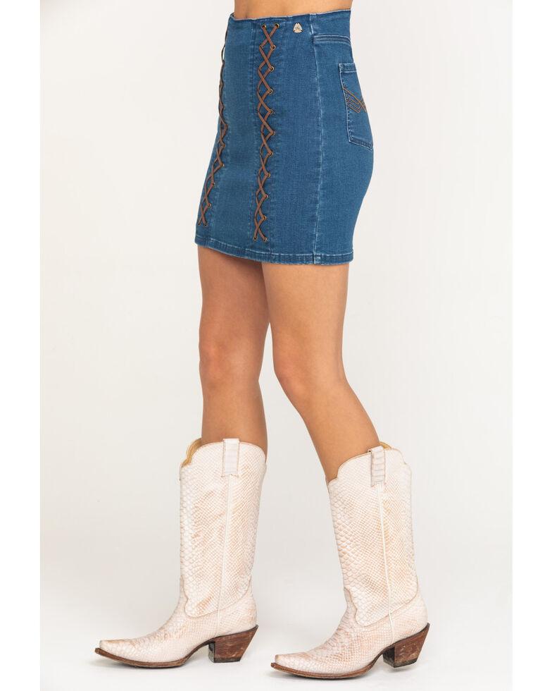Idyllwind Women's Indigo High Rise Denim Lace Up Skirt, Medium Blue, hi-res