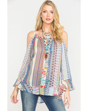 Johnny Was Women's Garden Cold Shoulder Top , Multi, hi-res
