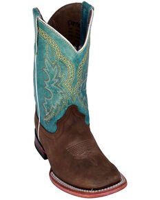 Ferrini Youth Boys' Chocolate Cowhide Western Boots - Square Toe, Chocolate, hi-res