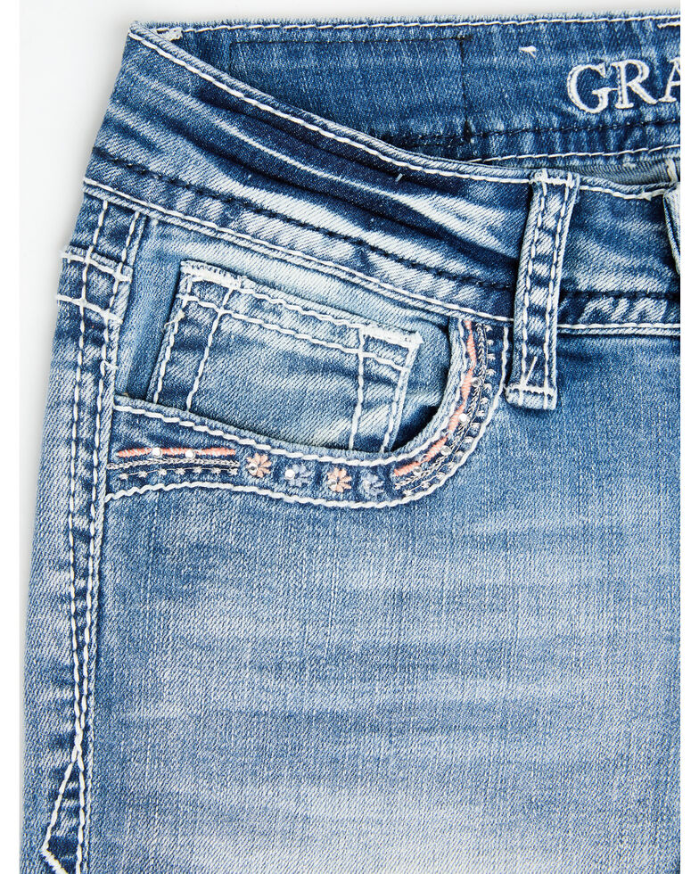 Grace in LA Girls' Light Wash Butterfly Bootcut Jeans, Blue, hi-res