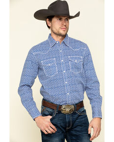 Wrangler 20X Men's Advanced Comfort Blue Geo Print Poplin Long Sleeve Western Shirt , Blue, hi-res
