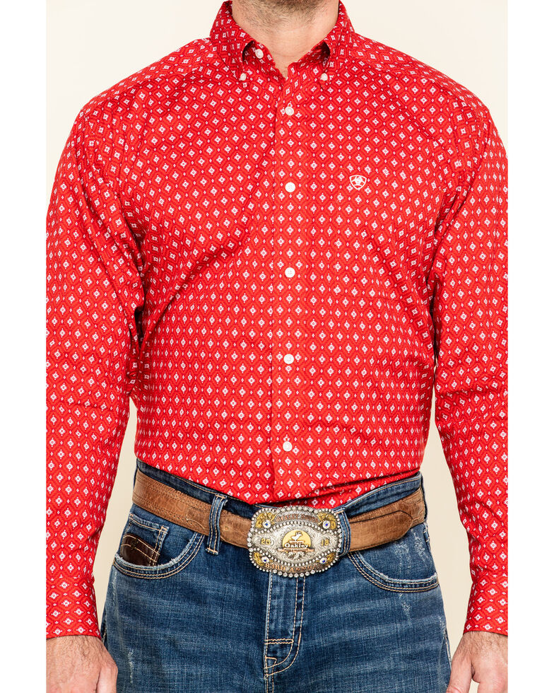 Ariat Men's Nelton Stretch Aztec Geo Print Long Sleeve Western Shirt , Red, hi-res