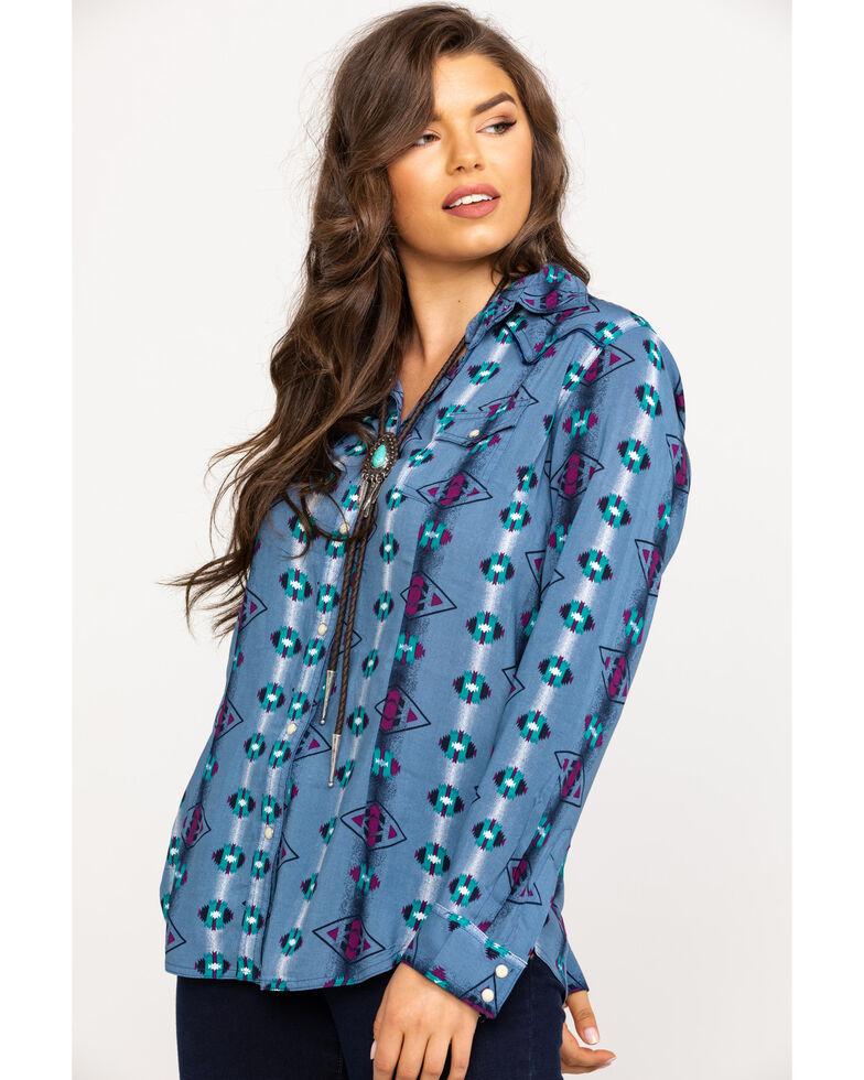 Wrangler Women's Slate Blue Checotah Print Snap Long Sleeve Shirt, Blue, hi-res