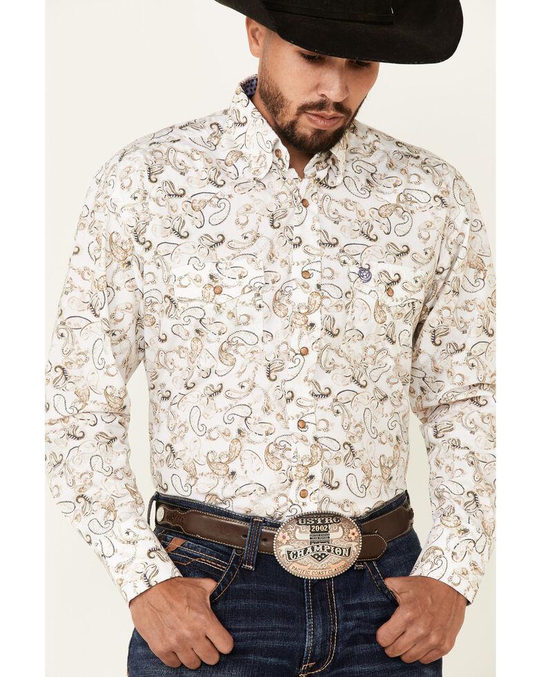 George Strait By Wrangler White Paisley Print Long Sleeve Snap Western Shirt , White, hi-res