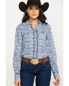 Shyanne Life Women's Blue Floral Woven Core Long Sleeve Shirt, Blue, hi-res