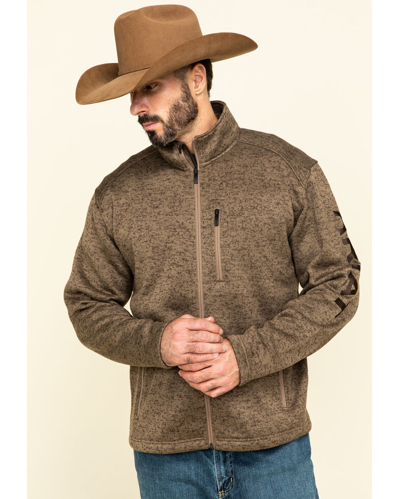 Ariat Men's Brown Caldwell Full Zip Sweater Jacket , Brown, hi-res