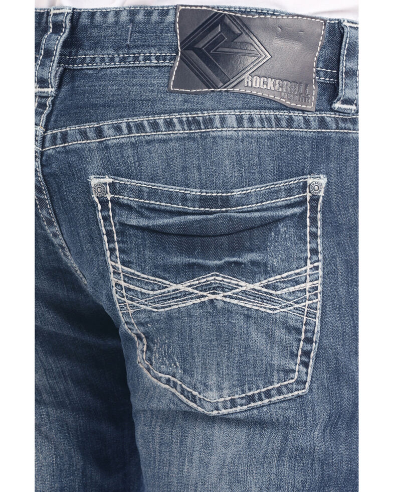 Rock & Roll Cowboy Men's Abstract Large Flat Dark Slim Straight Jeans , Dark Blue, hi-res