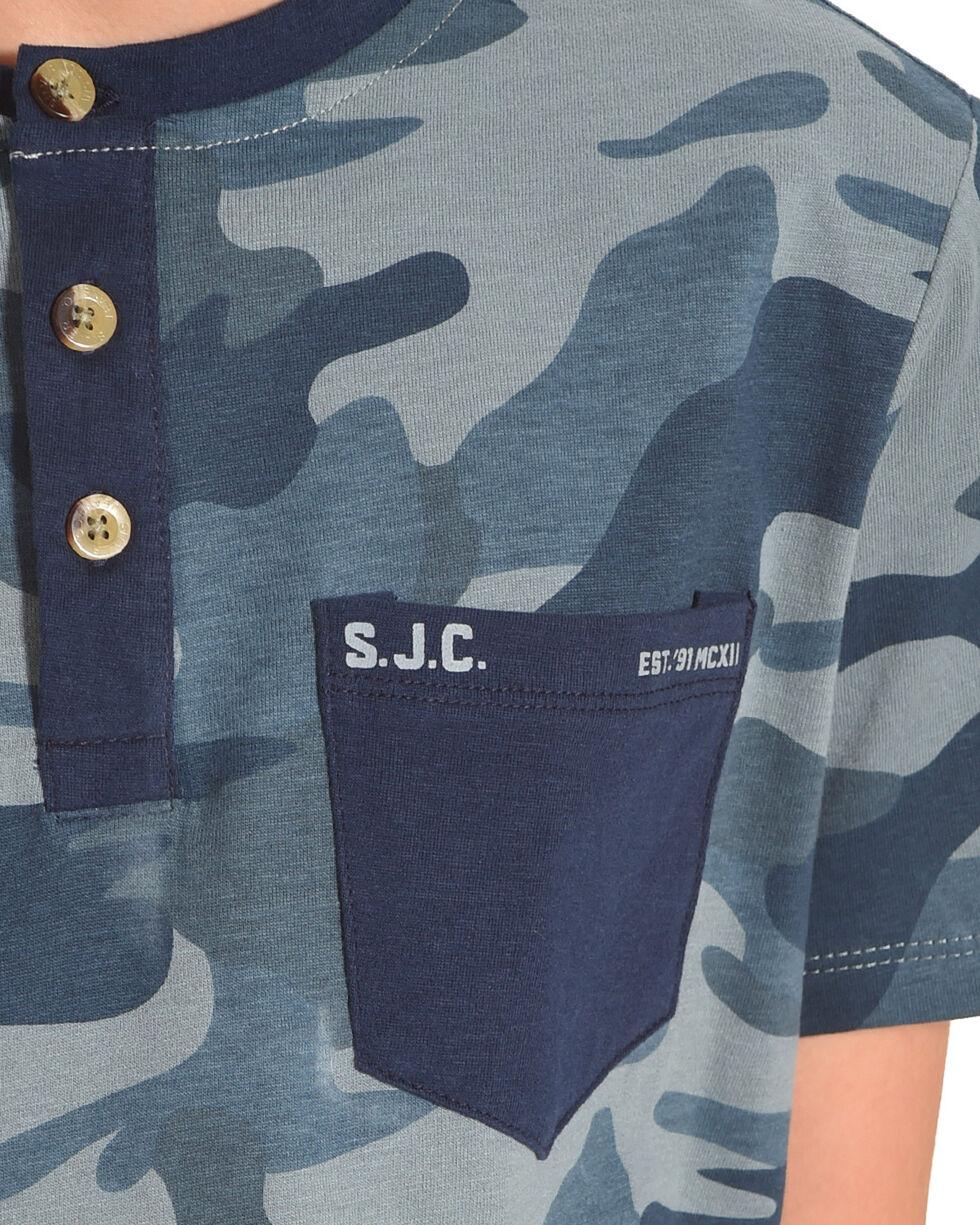 Silver Boys' Blue Camo Short Sleeve Henley Tee, Blue, hi-res