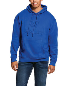 Ariat Men's Cobalt Branded Fleece Hooded Sweatshirt , Dark Blue, hi-res