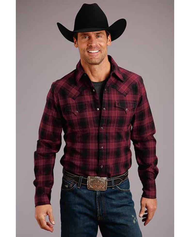Stetson Men's Check Mate Brushed Twill Plaid Long Sleeve Western Shirt , Black, hi-res