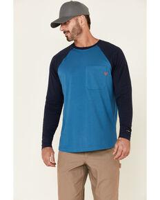 Hawx Men's Blue Original Baseball Crew Long Sleeve Work T-Shirt , Blue, hi-res