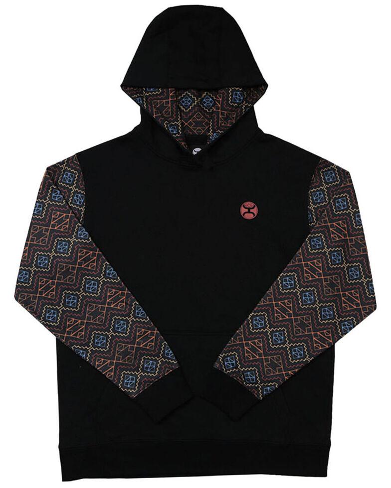 HOOey Boys' Black Aztec Sleeve Rumba Hooded Sweatshirt , Grey, hi-res