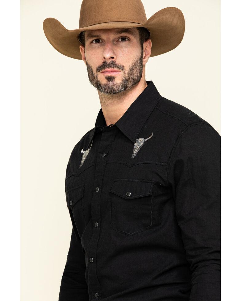 Rock & Roll Denim Men's Solid Bull Embroidered Long Sleeve Western Shirt , Black, hi-res