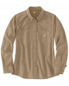 Carhartt Women's FR Force Lightweight Button Front Long Sleeve Shirt , Beige/khaki, hi-res