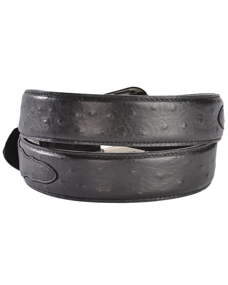 3D Black Ostrich Print Leather Belt, Black, hi-res