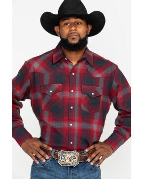 Ely Cattleman Men's 8.5 oz Brawny Flannel Long Sleeve Western Shirt , Burgundy, hi-res