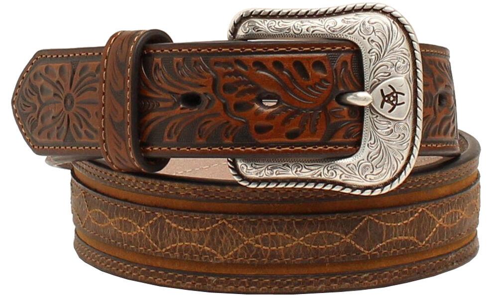 "Ariat 1 1/2"" Embossed Tabs Barbwire Stitch Belt, Brown, hi-res"