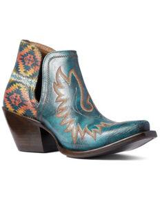 Ariat Women's Pendleton Dixon Western Booties - Snip Toe, Green, hi-res