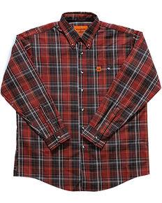 Wrangler Men's Flame-Resistant Plaid Long Sleeve Woven Work Shirt , Chilli, hi-res