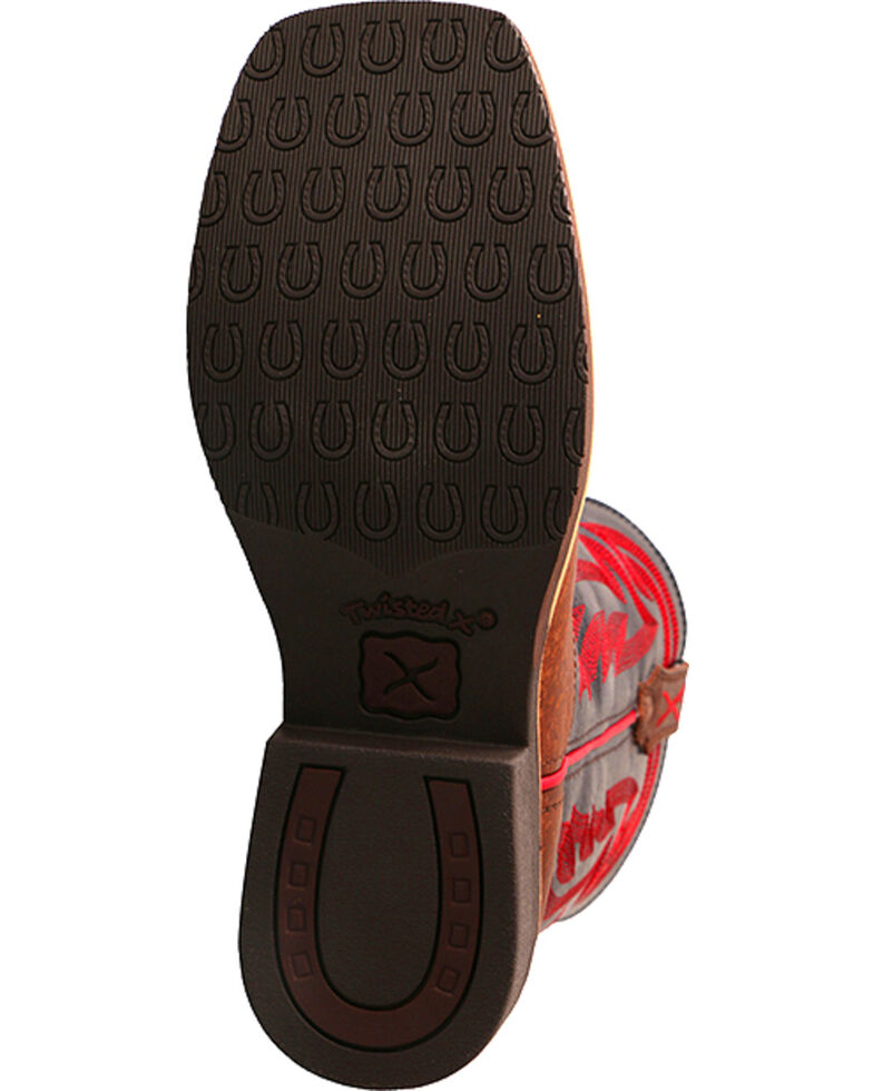 Hooey by Twisted X Youth Boys' Brown with Red Embroidery Boots - Square Toe , Brown, hi-res