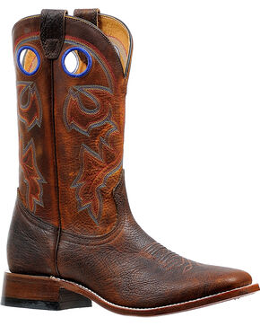 Boulet Men's Rough Rider Amber Gold Stockman Cowboy Boots - Square Toe, Brown, hi-res